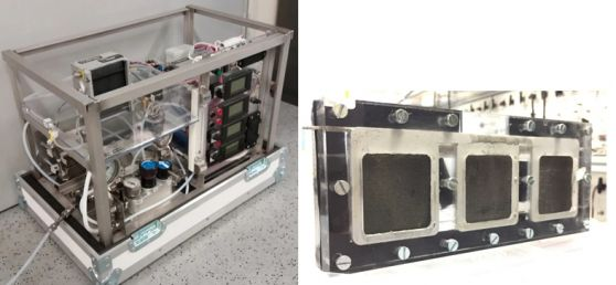Prototypes, left: H2 release reactor with PEM fuel cell, right: direct borohydride fuel cell (Source: Graz University of Technology, CEET, 2017)